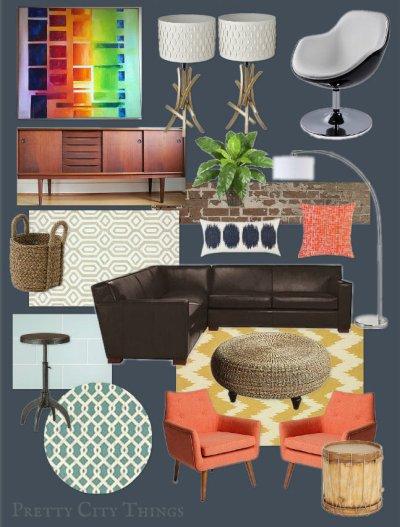 Mood Board - Cody's Colorful Midcentury Living Room Design Plan