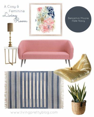 Mood Board - Cozy & Feminine Living Room