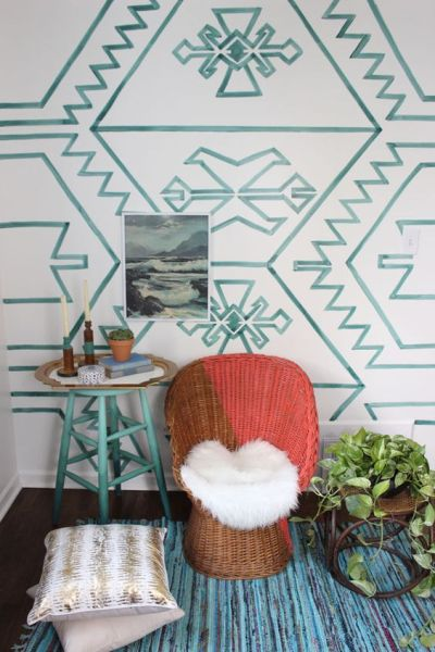 DIY Painted Kilim Wall White Buffalo Styling Co