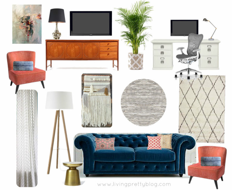 Mood Board - Living Room Design Featuring MidCentury Console, Souk Rug, Chesterfield Sofa & Abstract Oil Painting