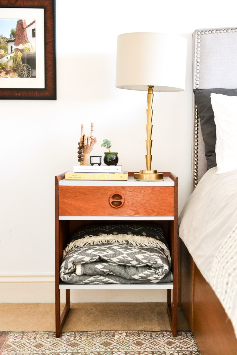Refinished Midcentury Nightstand with Blanket