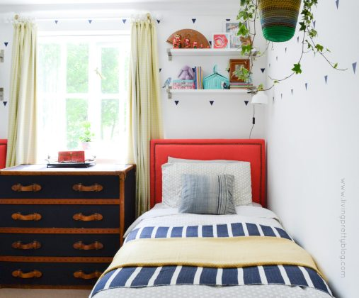 DIY Upholstered Bed and Shelf