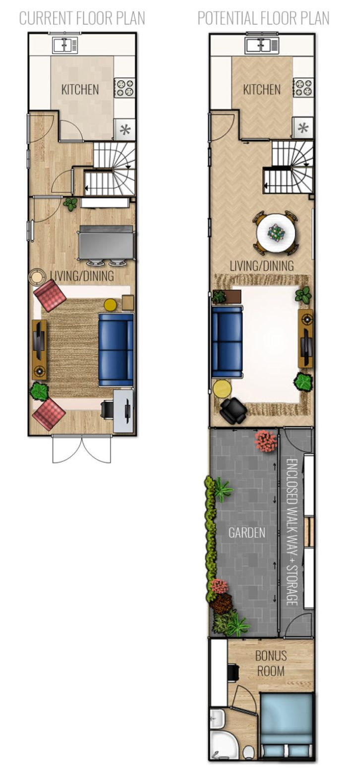 1st Floor Current vs Potential Extension Living Dining Floor Plan