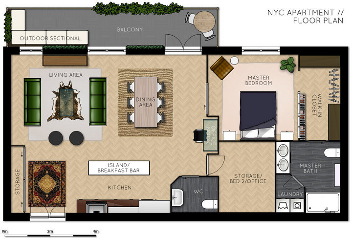 1 bed 2 bath open plan NYC apartment with bonus room - floor plan