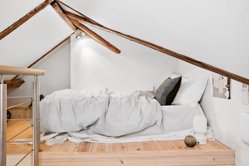 Neutral Scandinavian Apartment Stockholm Bedroom Loft