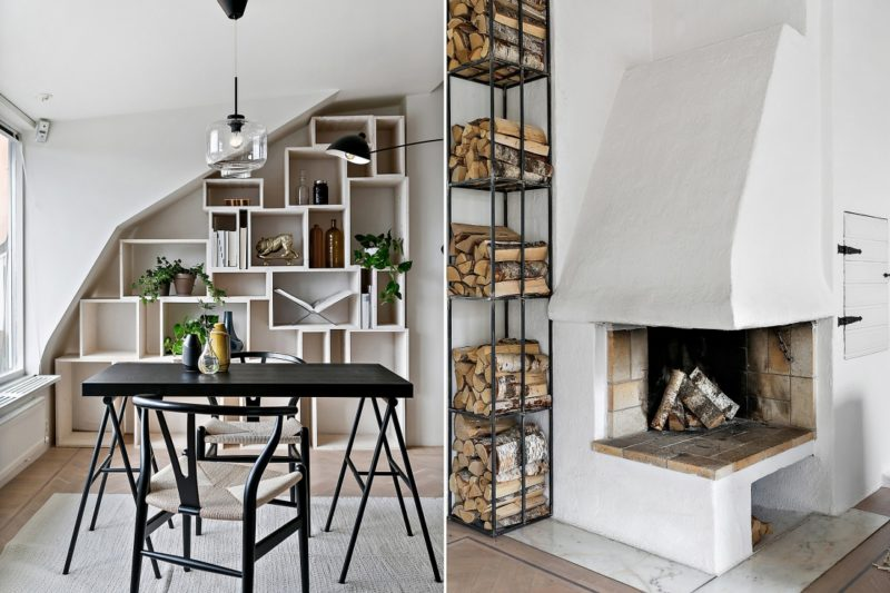 Neutral Scandinavian Apartment Stockholm Dining or Office Area