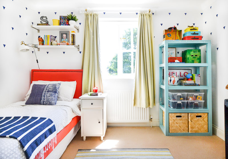 Colorful Boys Room Before with Yellow Gingham Curtains