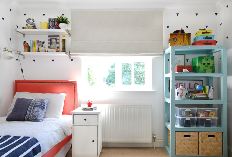 Black out blinds half drawn in boys bedroom - Blinds 2Go Review