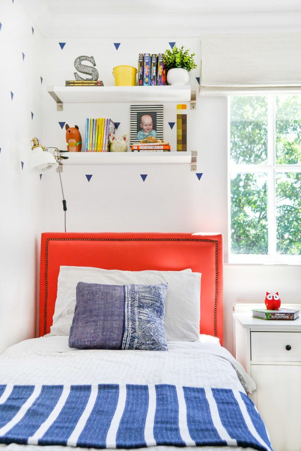 DIY upholstered bed in boys room - Blinds 2Go Review