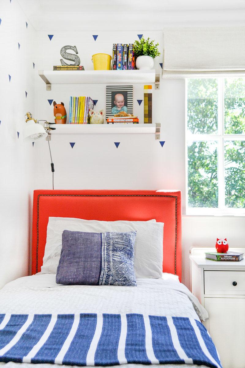 DIY upholstered bed in boys room - Blinds2Go Review