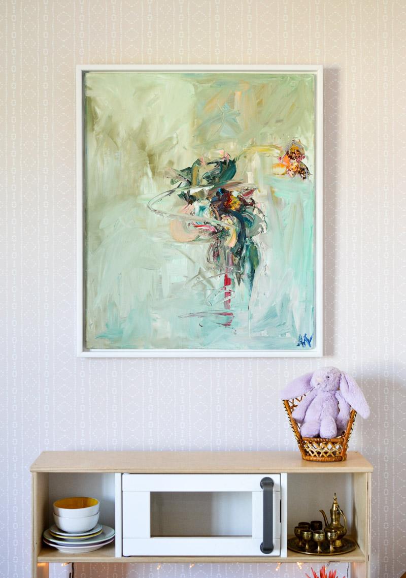 Global boho kids room makeover - Alice Neave poil painting