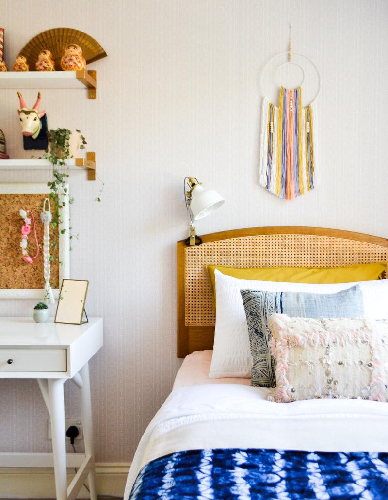 Global boho kids room makeover - DIY wall hanging + wicker headboard