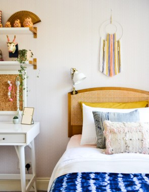 Global boho kids room makeover - DIY wall hanging + wicker headboard