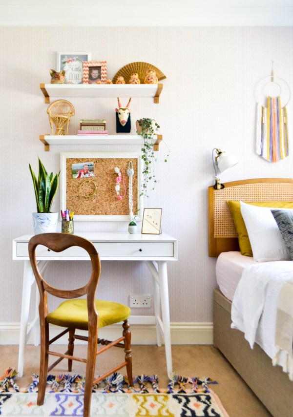 Global boho kids bedroom makeover - midcentury desk + storage bed