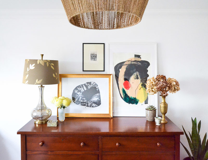 Dresser styling with abstract art - Summer 17 Eclectic Home Tour