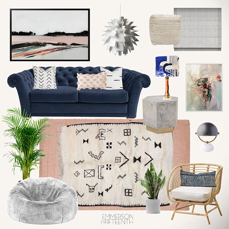 Eclectic Living Room Mood Board navy & pink