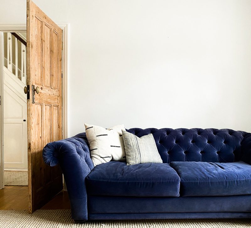 Farrow & Ball Wevet with door blocking sofa