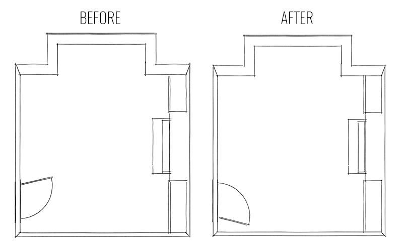 Floor plans showing rehanging door in living room makeover