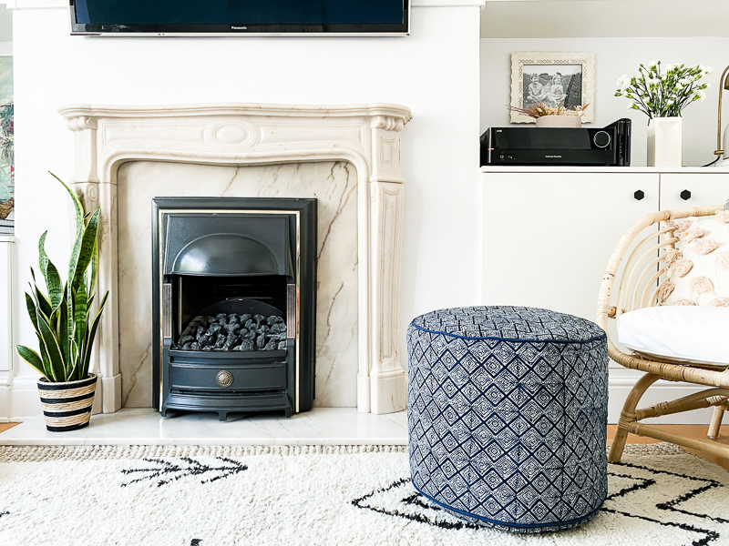 Hmong pouf foot stool & marble fireplace
