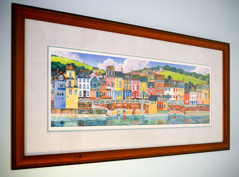 Art print of colourful houses in Kingsand, Cornwall