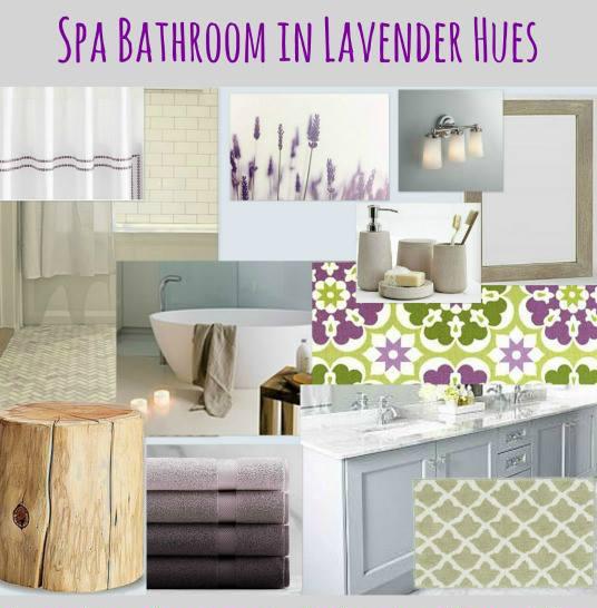 Lilac and green bathroom mood board