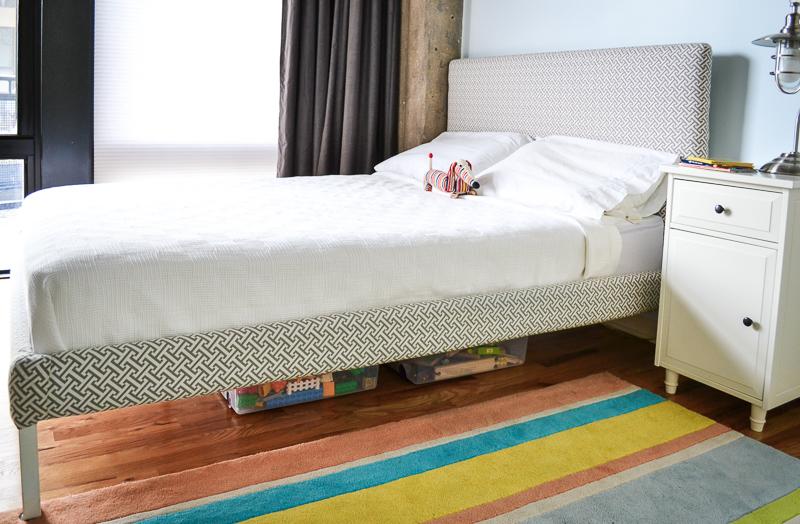 DIY Upholstered Ikea bed in loft bedroom