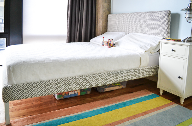 DIY Upholstered Ikea bed in loft bedroom