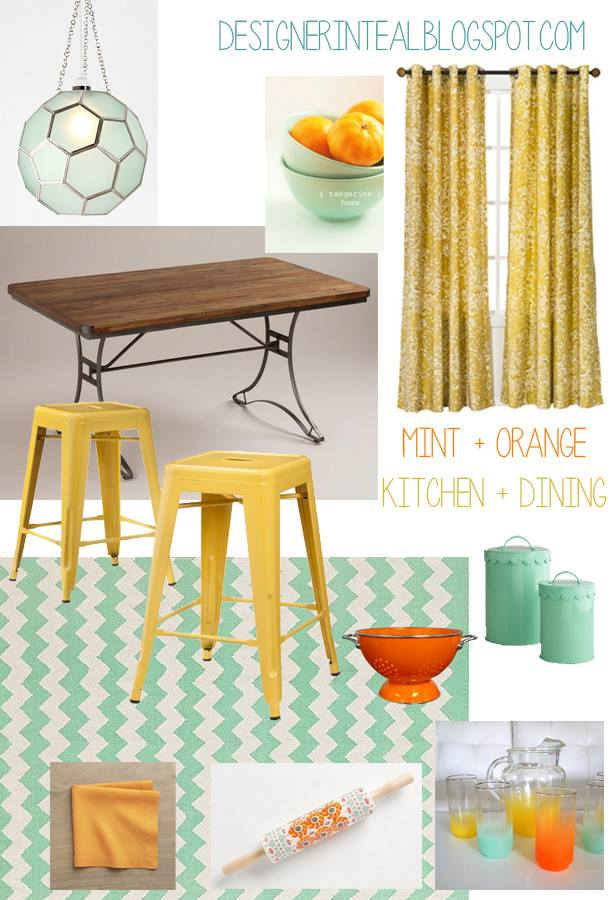 Orange mint and yellow kitchen and dining area mood board