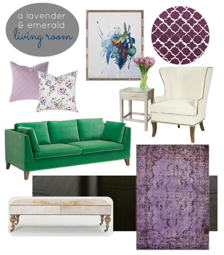 Lavender and Emerald Green Living Room Mood Board