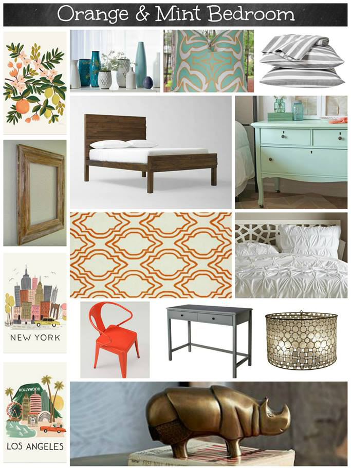 Orange and mint bedroom mood board