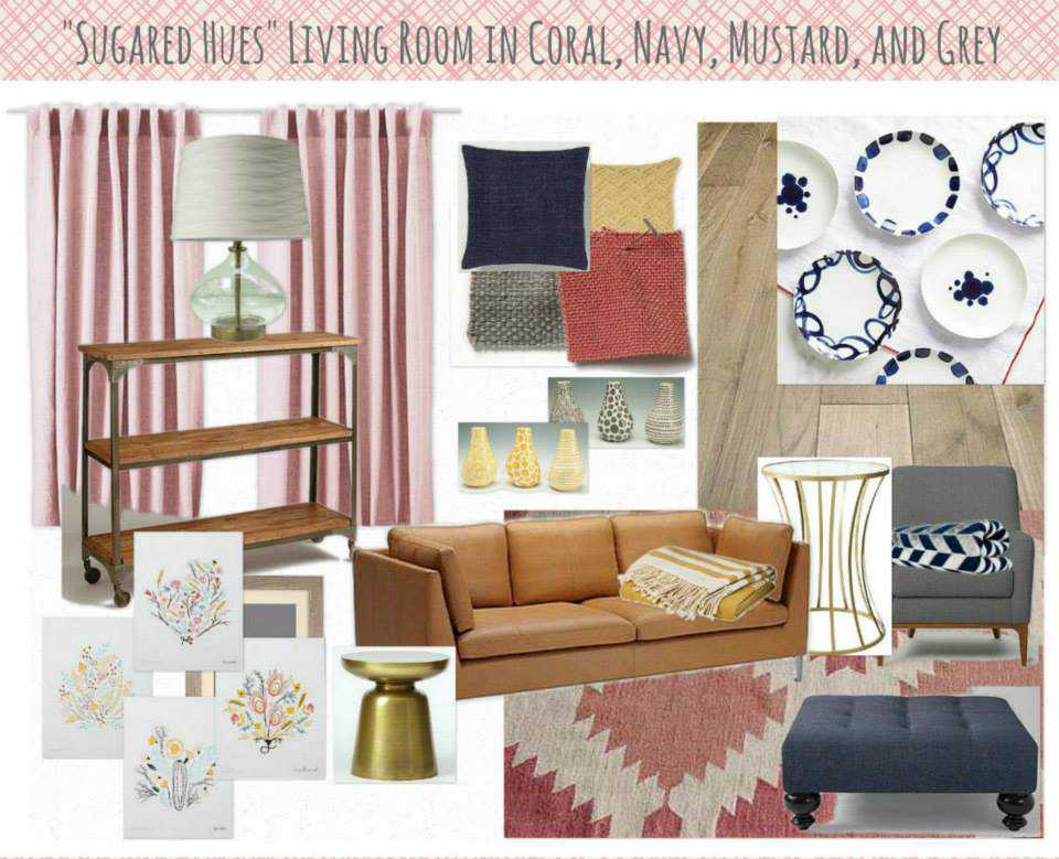 Coral and navy mood board