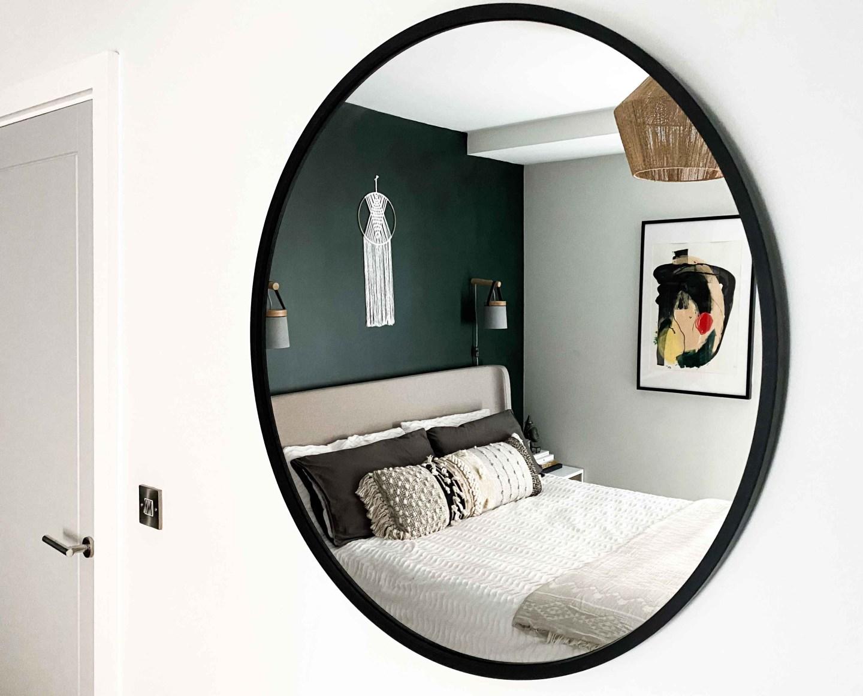 Textured white bedding in modern boho bedroom