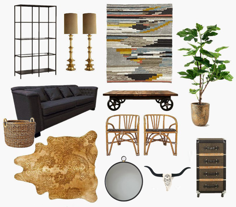 Neutral Rustic Modern Living Room Design Mood Board
