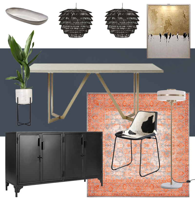 Industrial Glam Dining Room Design in Navy Coral Gold and Black