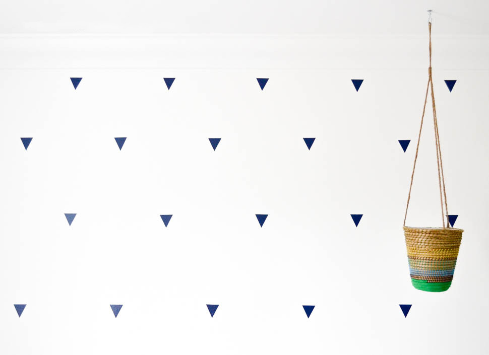DIY Triangle Decals in Shared Kids Bedroom