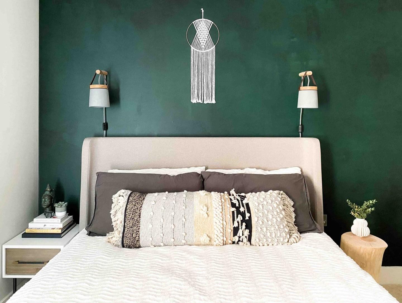 Emerald green watercolour wallpaper mural in boho bedroom design