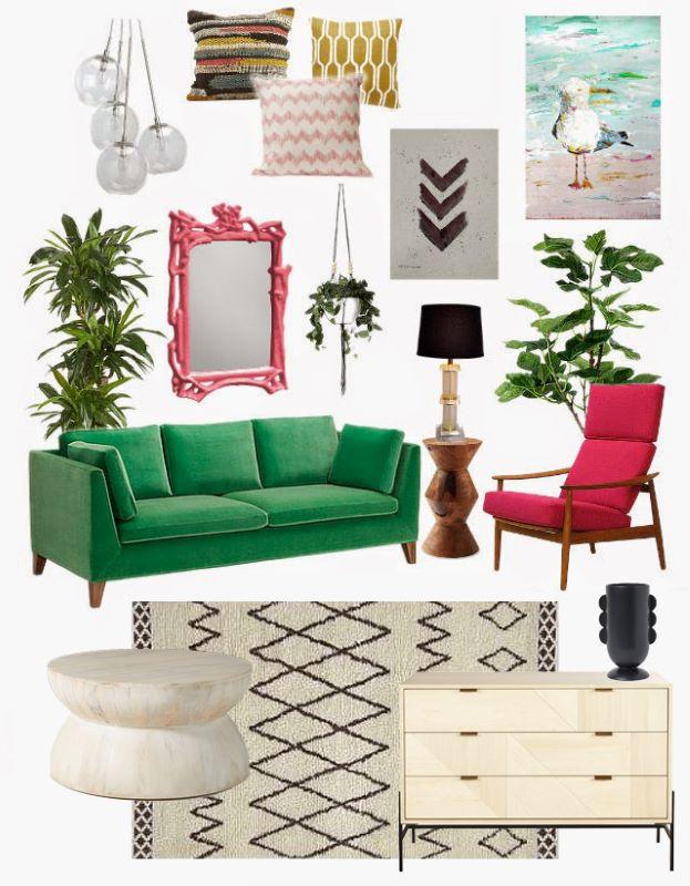 Bright Beach Living Room Design Mood Board