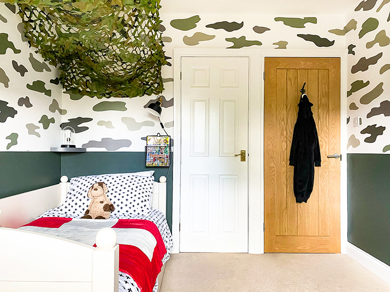 Camouflage military theme kids bedroom