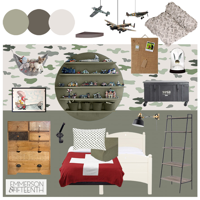 Camo Kids Bedroom Design - Mood Board