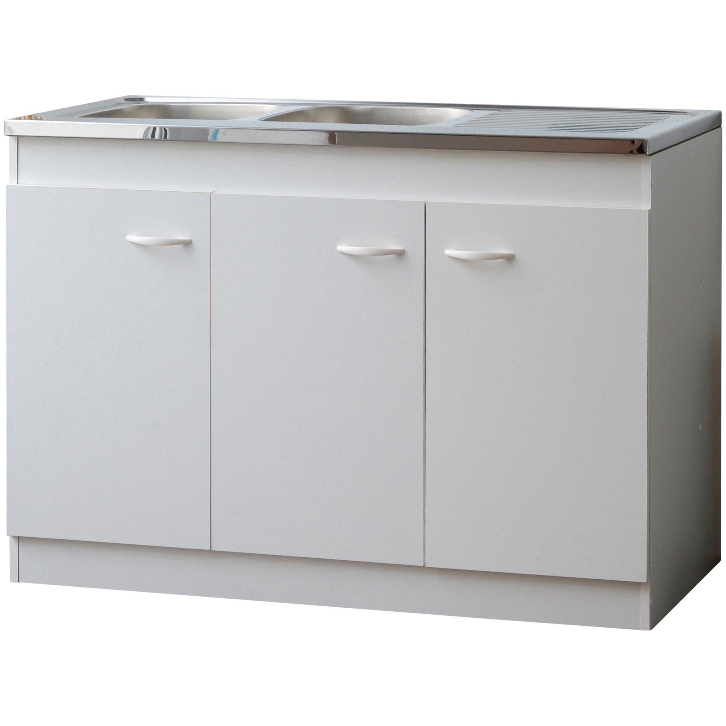 armoire basse pour evier avec 3 portes 120 cm