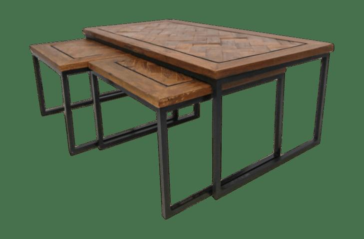 set de table basse bradley bois fer java recycle ensemble de 3