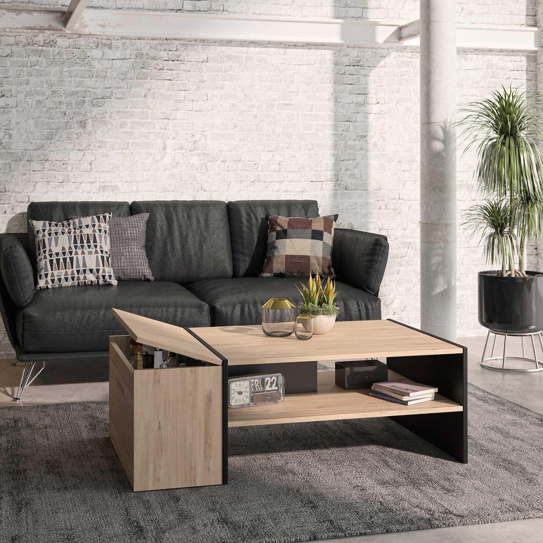 table basse avec rangement lore chene kronberg clair
