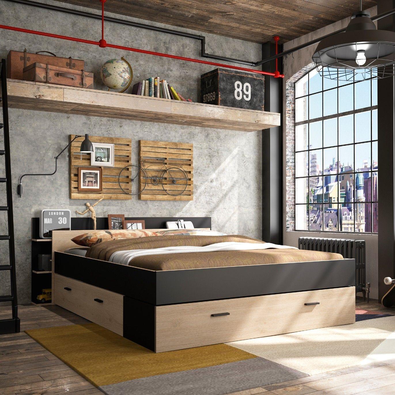 lit avec rangement eveline 160x200 noir chataignier naturel