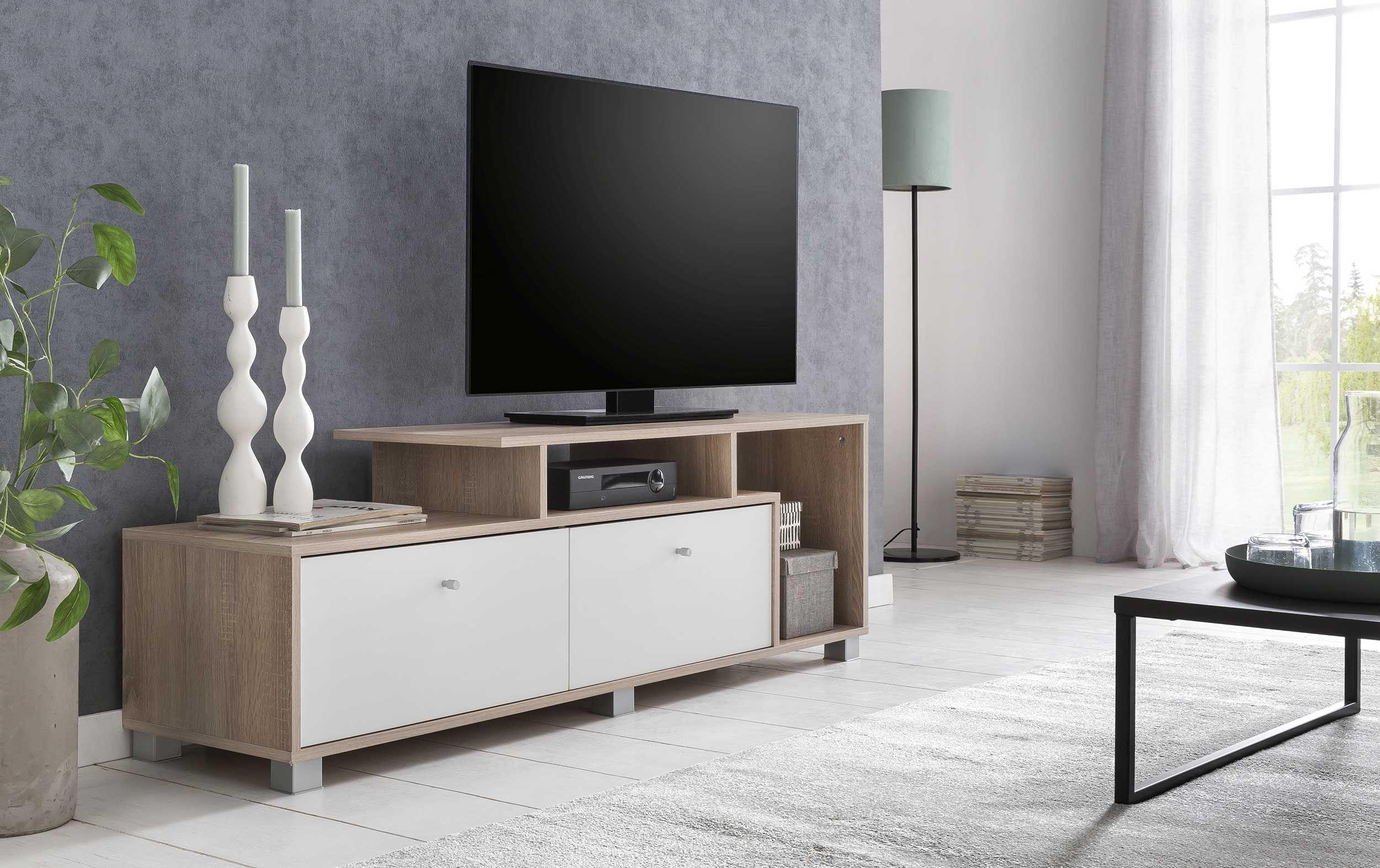 meuble tv marly 140cm blanc chene