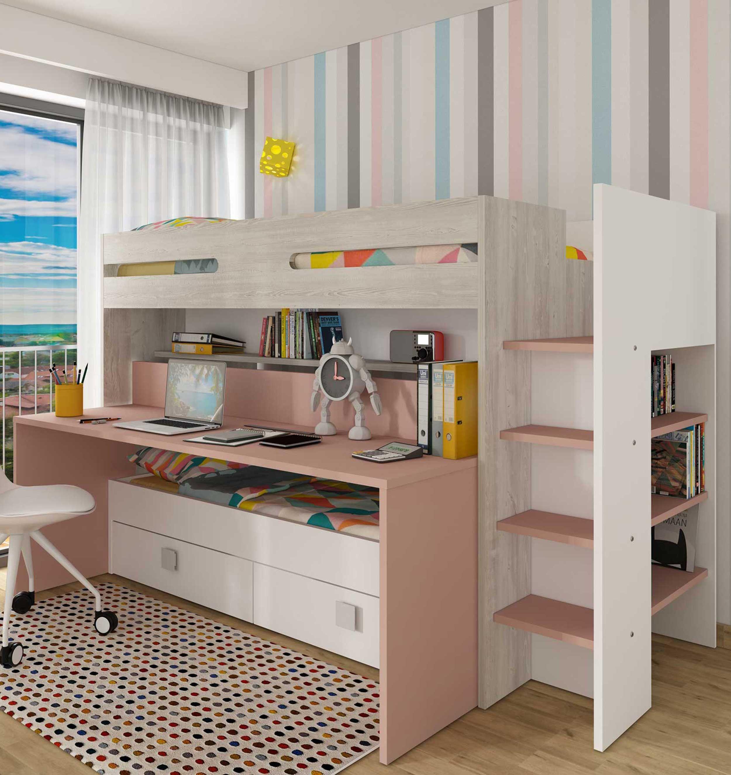 lit mezzanine billy avec bureau vieux rose