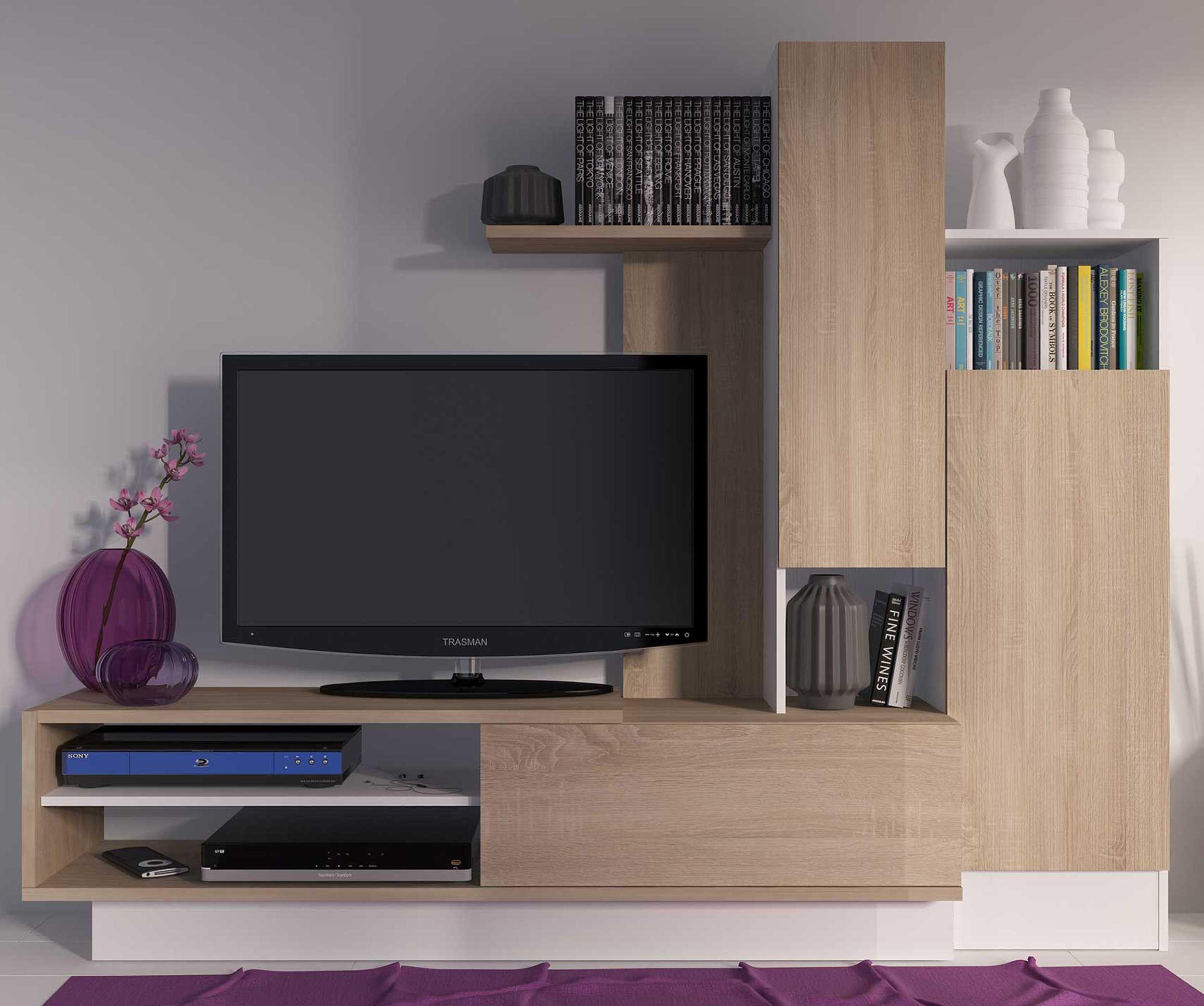 meuble tv benno 200cm bois blanc