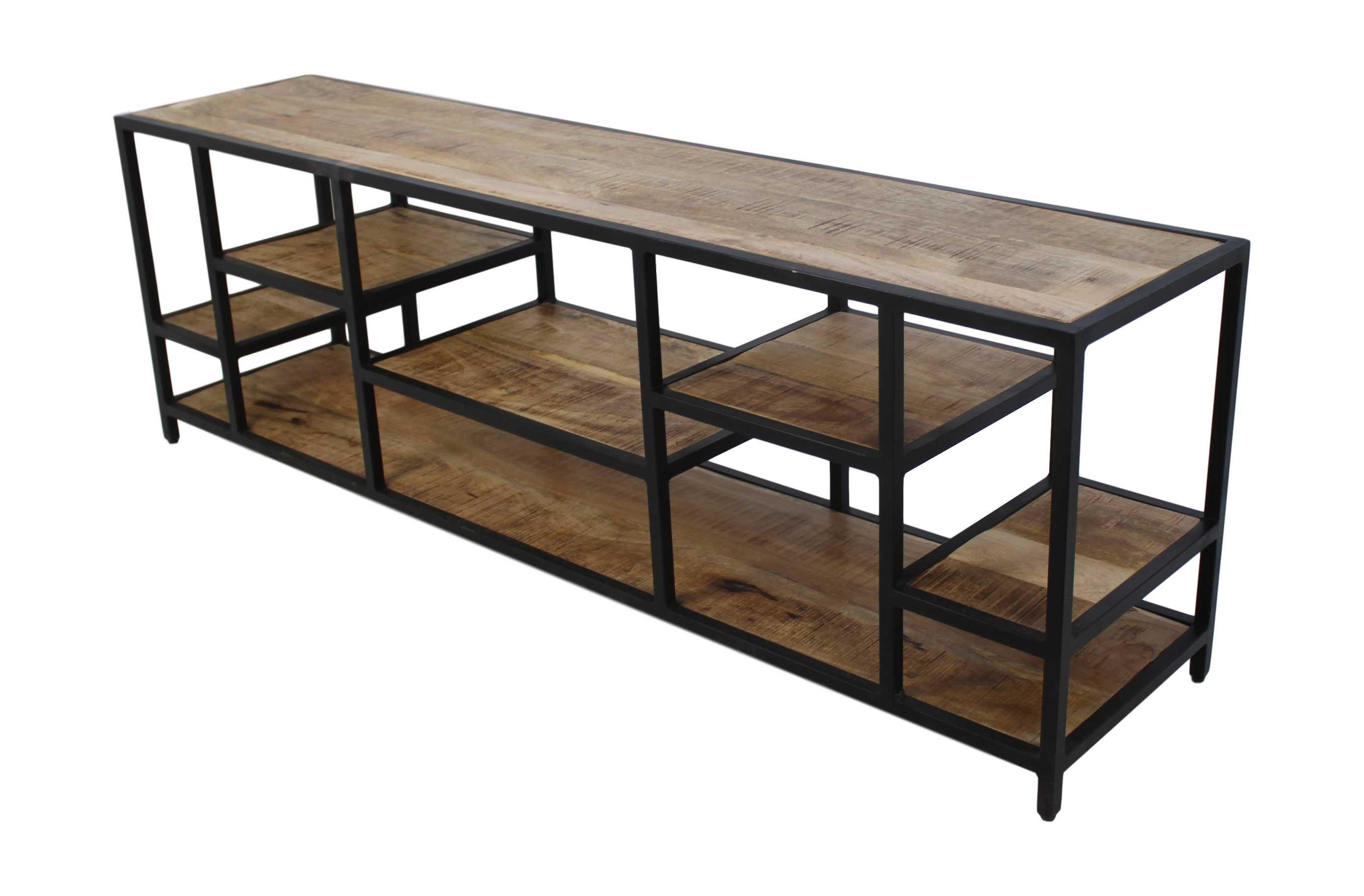 meubles tv niveaux 170cm bois de manguier fer