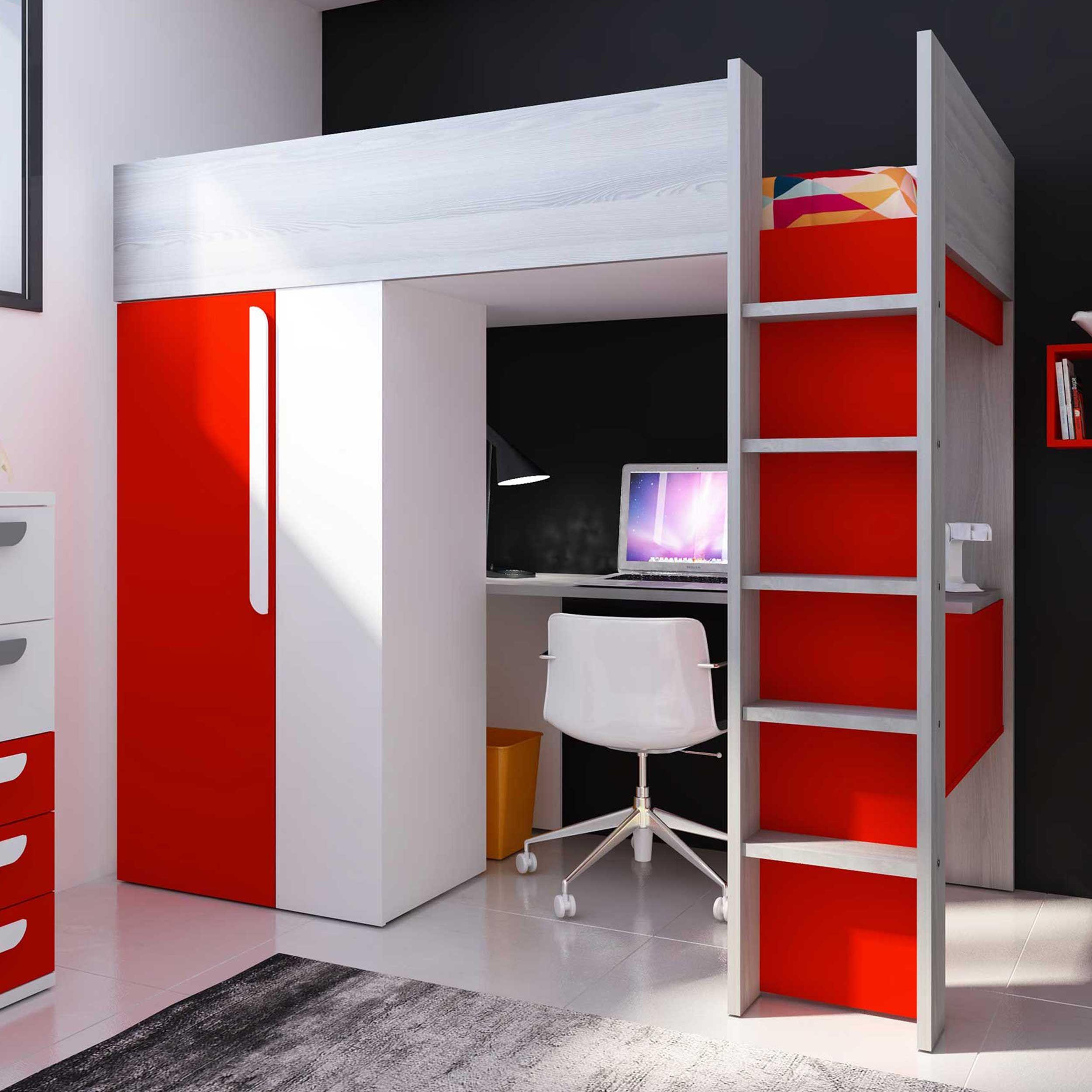 lit mezzanine beau avec bureau et armoire rouge