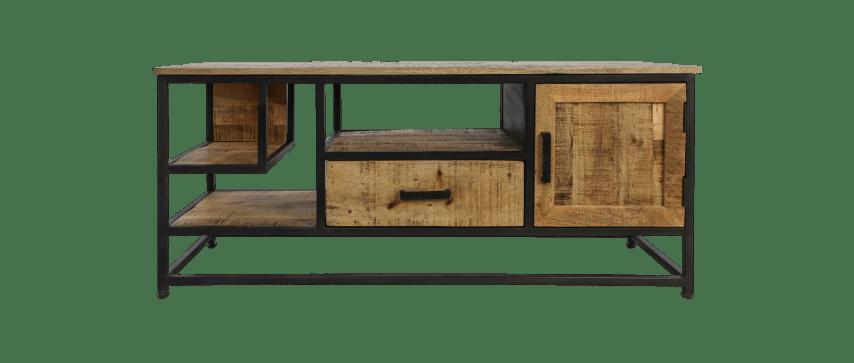 meuble tv 130cm bois de manguier fer