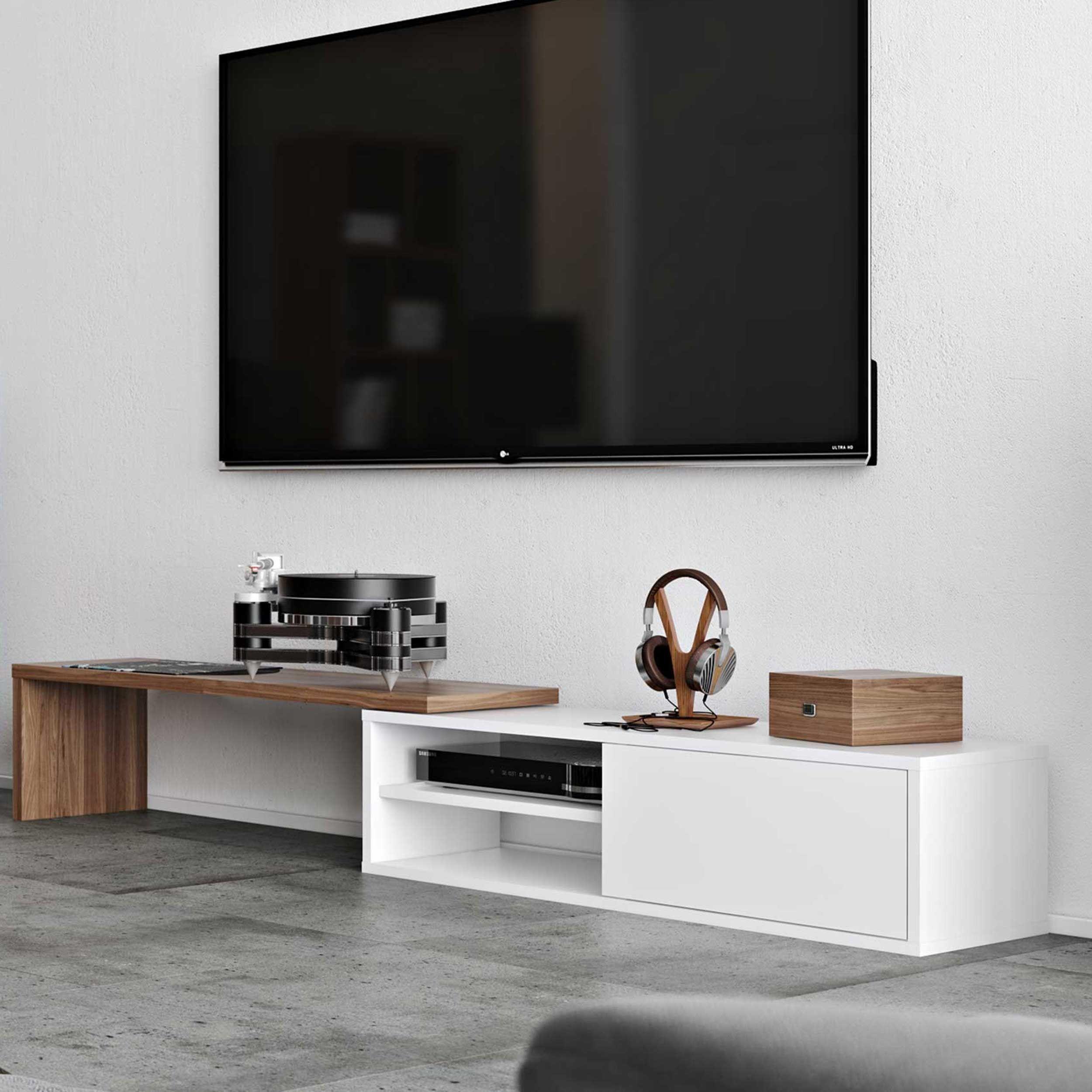meuble tv movie 110cm blanc noyer